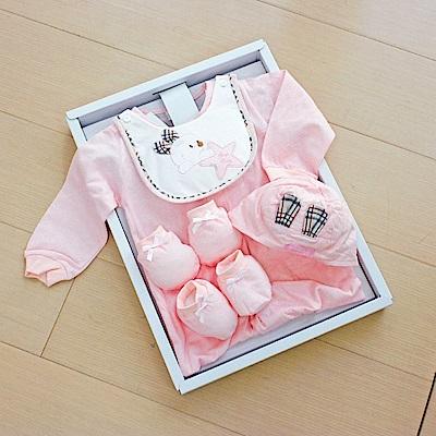 GMP BABY台灣製條紋星兔兩用兔裝 粉 彌月禮盒1盒