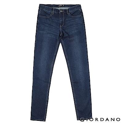 GIORDANO 女裝中腰彈力修身窄管牛仔褲-51 深藍