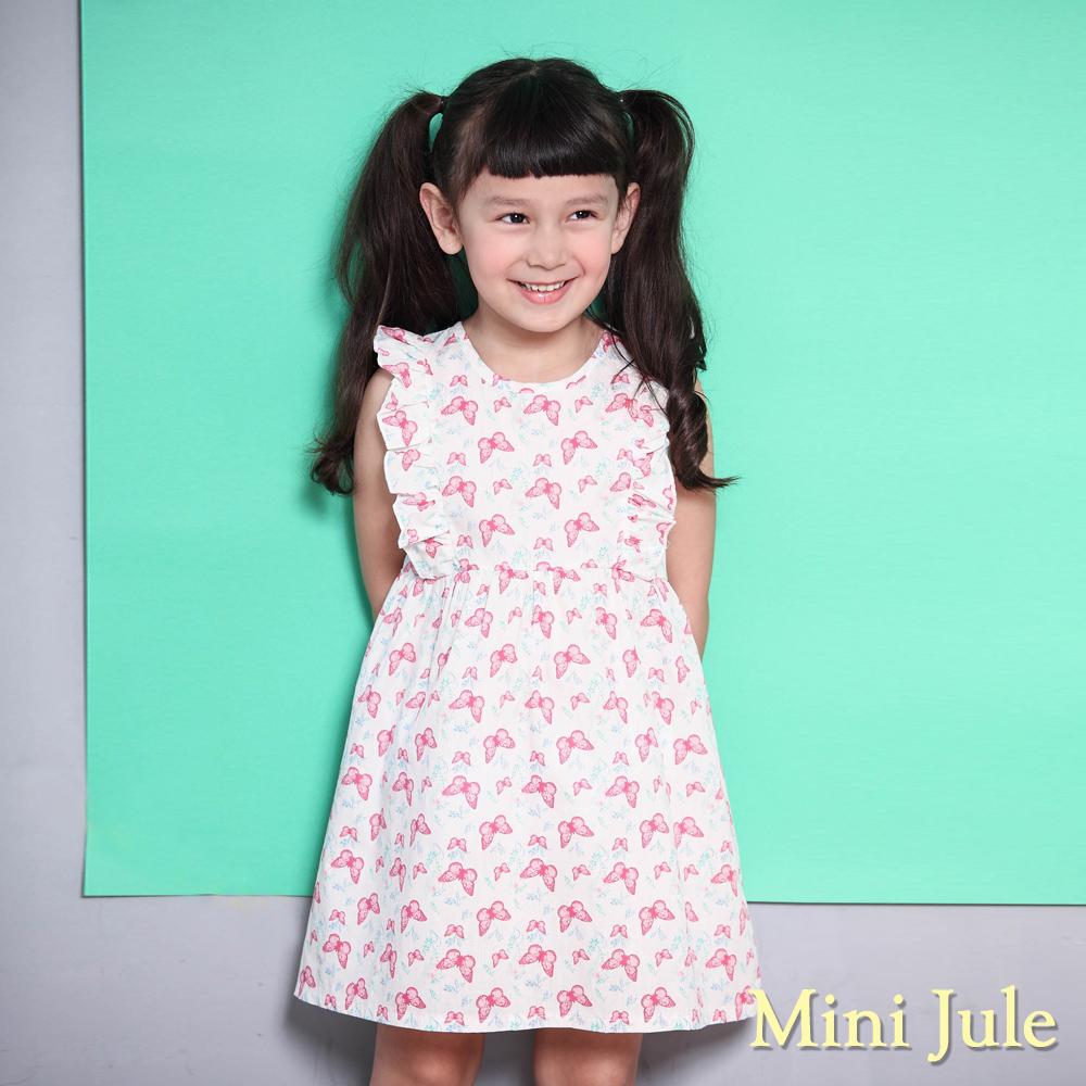 Mini Jule 洋裝 滿版蝴蝶樹葉荷葉裝飾無袖洋裝(粉)