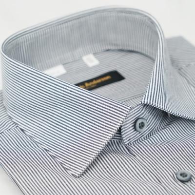 【金‧安德森】深灰色條紋窄版短袖襯衫