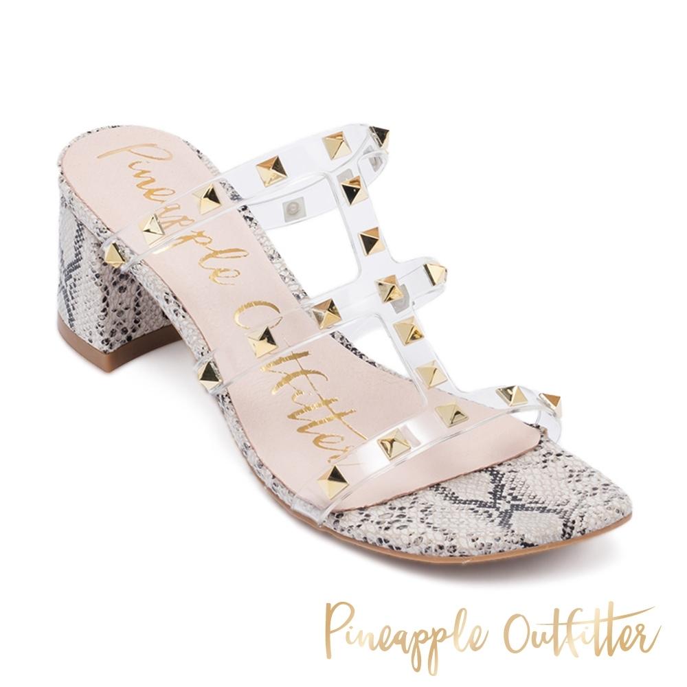 Pineapple Outfitter-時尚前衛 透明細帶鉚釘動物紋粗跟涼鞋-白色