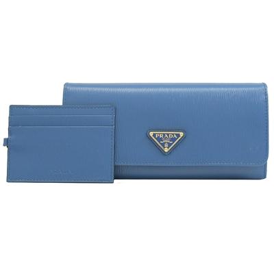 PRADA 三角LOGO水波紋牛皮釦式長夾(藍)