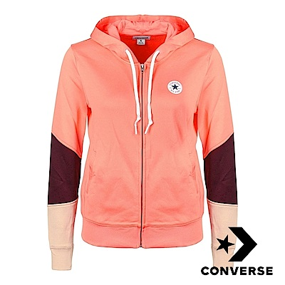 CONVERSE-女休閒連帽外套-橘-10004542-A01