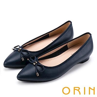 ORIN 典雅輕熟OL 牛皮百搭尖頭低跟鞋-霧藍