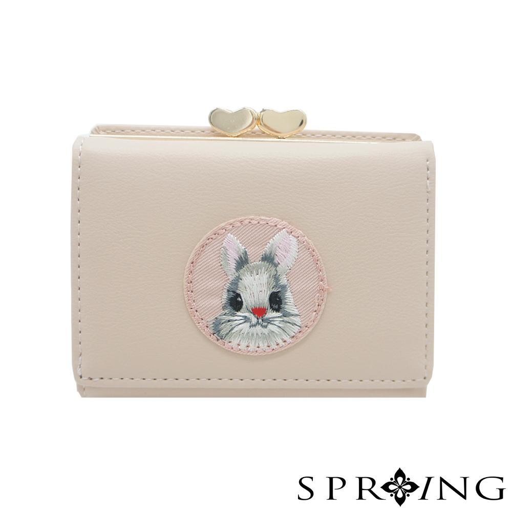 SPRING-甜萌愛心扣刺繡兔兔短夾-甜美粉