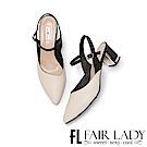 Fair Lady優雅小姐Miss Elegant尖頭金屬粗跟涼鞋  米
