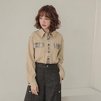質感格紋拼接純色仿麂皮長袖襯衫上衣-OB大尺碼