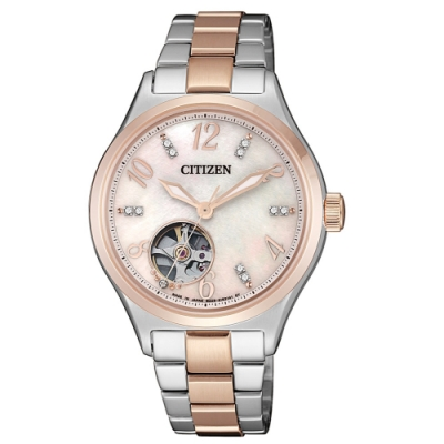 CITIZEN星辰 優雅女神開芯機械腕錶PC1006-84D