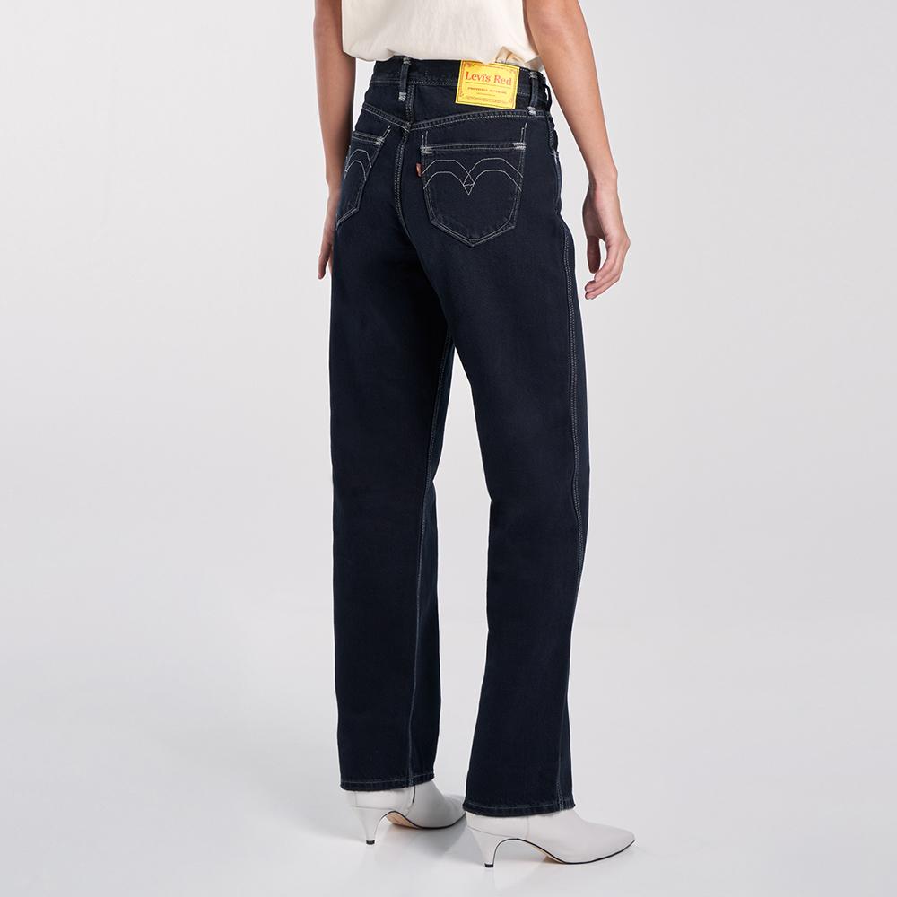 Levis Red 工裝手稿風復刻再造 女款 復古中腰直筒牛仔寬褲 黑色基本款 寒麻纖維