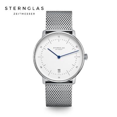 STERNGLAS 德國希丹格斯 S01-NA01-MI04 簡約時尚白盤文青石英錶(米蘭鋼帶) 38mm 男/女錶
