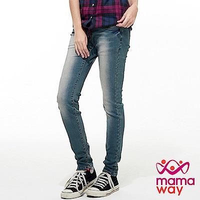 mamaway媽媽餵 內刷毛窄管牛仔孕婦褲
