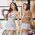 Sexy Cynthia角色扮演 俏麗純白護士角色扮演服吊襪帶五件組-白F