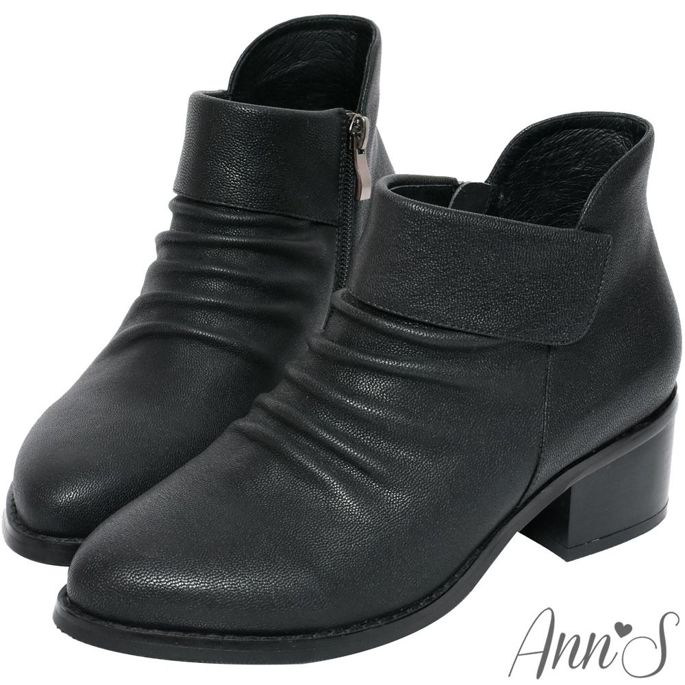 Ann'S米羅時尚-抓皺側V小羊皮粗跟短靴