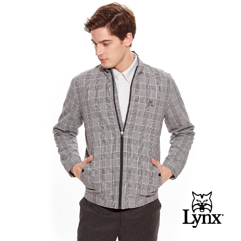 【Lynx Golf】男款日本進口布料格紋內磨毛保暖長袖外套-黑色