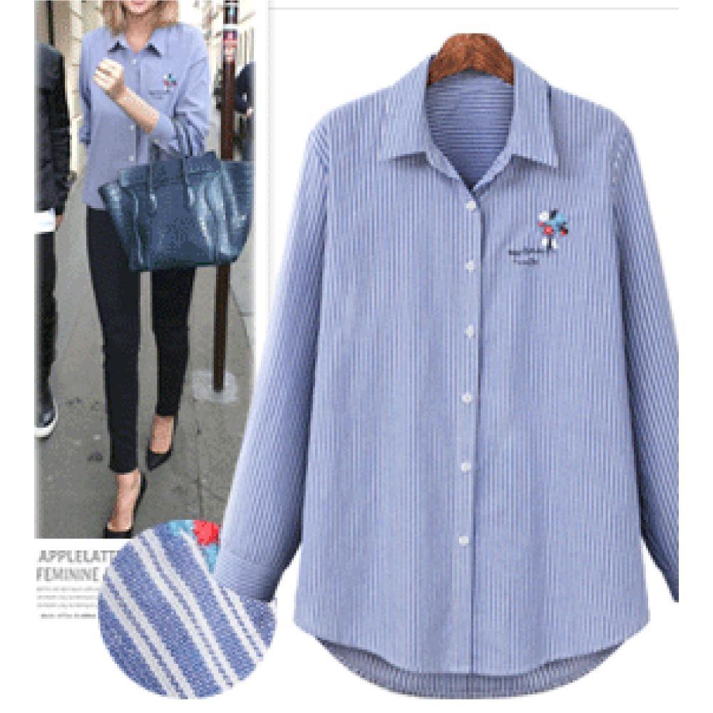 MOCO刺繡花朵藍色條紋開釦襯衫XL~4XL