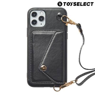 【TOYSELECT】iPhone 12 Mini BLAC皮革背帶卡包iPhone手機殼