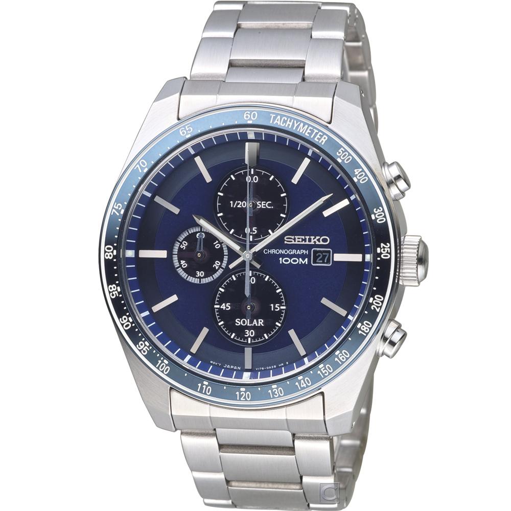 SEIKO 競速太陽能計時腕錶(SSC727P1)44mm