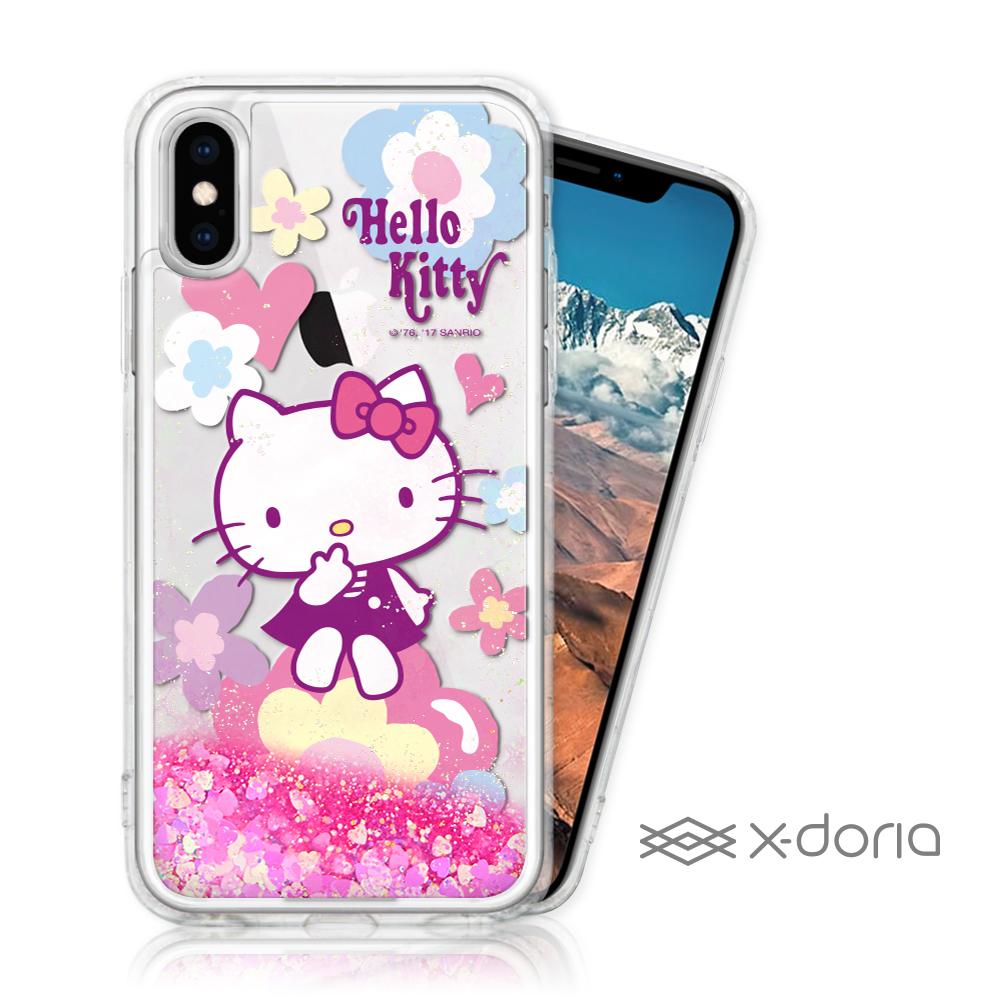 Hello Kitty iPhone X/Xs 亮片流沙手機軟殼 - 花漾
