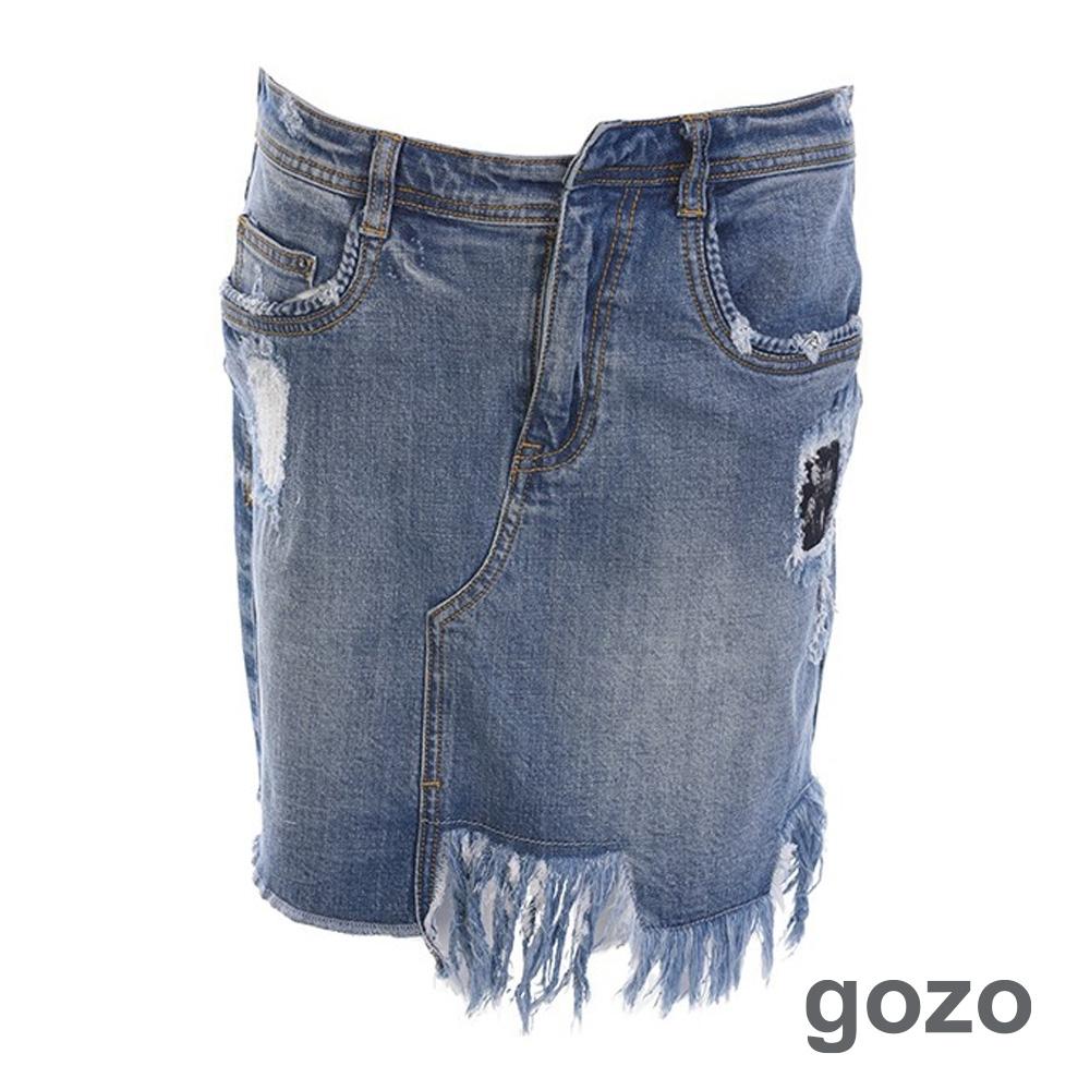 gozo 不規則刷破抽鬚牛仔裙(二色) product image 1