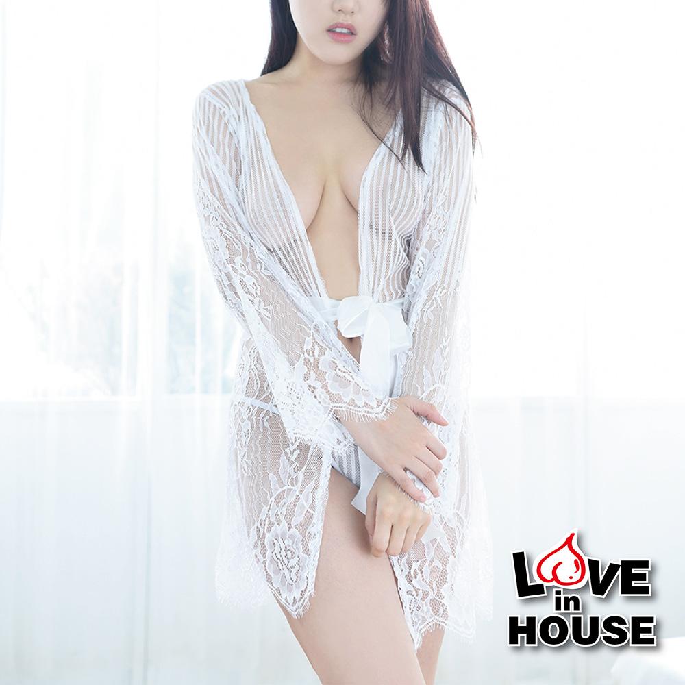 愛愛屋 法式睫毛邊蕾絲透膚外罩衫(2色選)