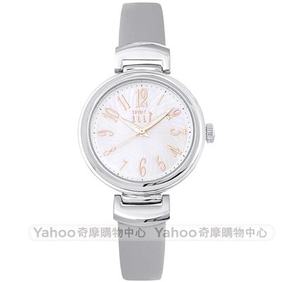 ELLE 優雅時尚皮革手錶-珍珠貝X灰/31mm