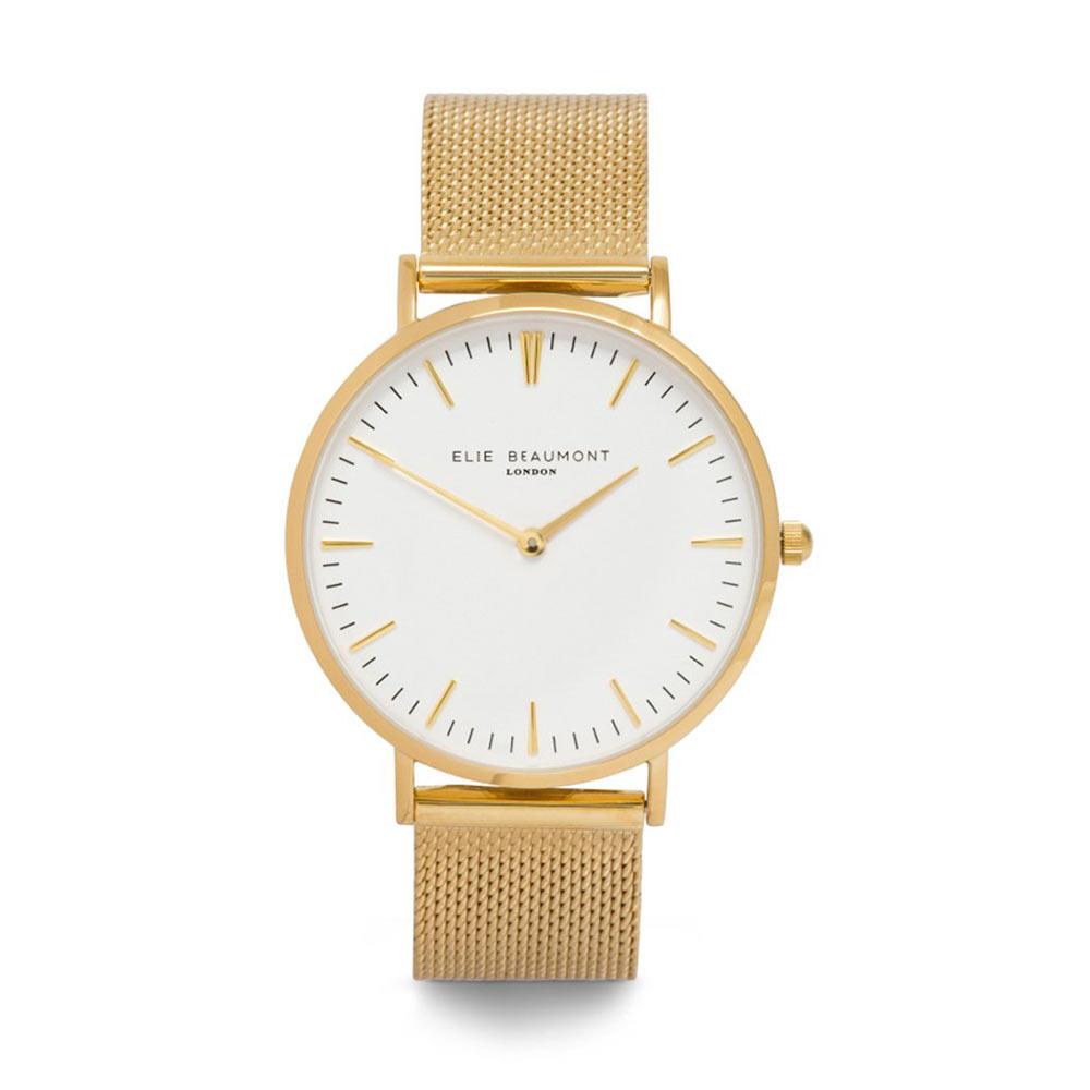 Elie Beaumont 英國時尚手錶 牛津米蘭錶帶系列 白錶盤x金色錶帶錶框38mm