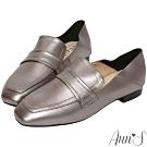 Ann'S會呼吸的舒適-小羊皮全真皮兩穿平底穆勒紳士鞋-銀灰(版型偏大)