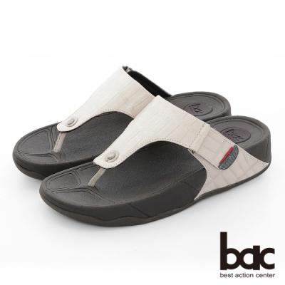【bac】繽紛曼谷 - 壓紋厚底彈力紓壓夾腳拖鞋-米灰