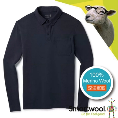 SmartWool 男 美麗諾羊毛 長袖鈕扣門襟保暖上衣_深海軍藍
