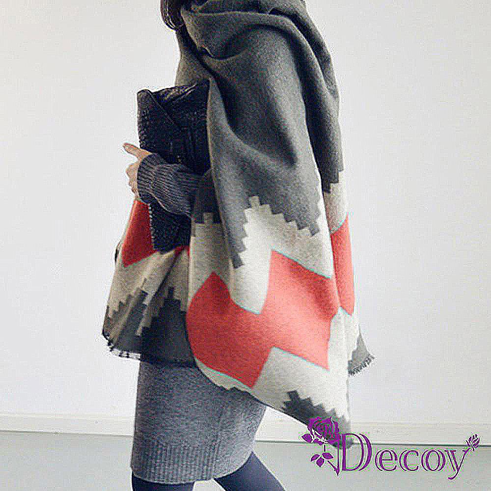 Decoy 色塊菱格 加大仿羊絨披肩圍巾 灰
