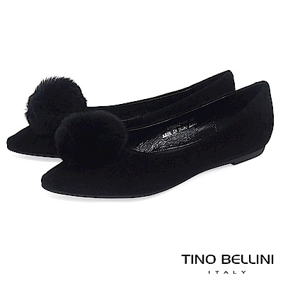 Tino Bellini 舒柔氣質毛球全真皮平底娃娃鞋 _ 黑