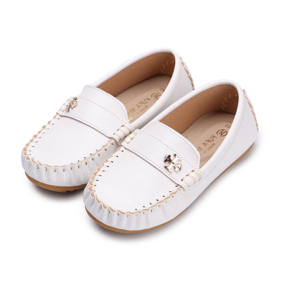 BuyGlasses 素面釦飾兒童樂福休閒鞋-白