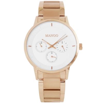 MANGO 簡約質感三眼時尚手錶-白X玫瑰金/36mm