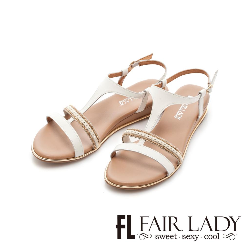 Fair Lady 鑲嵌串珠T字楔型涼鞋 白