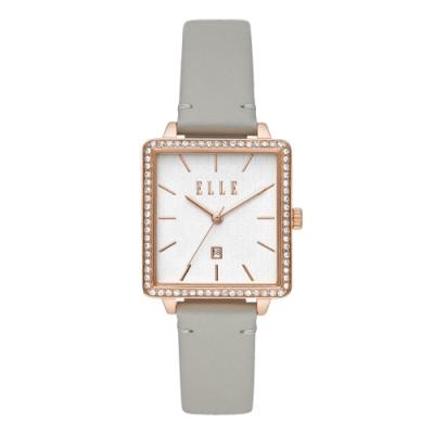 ELLE Ile De La Cite 系列方型晶鑽腕錶-灰(ELL21022)