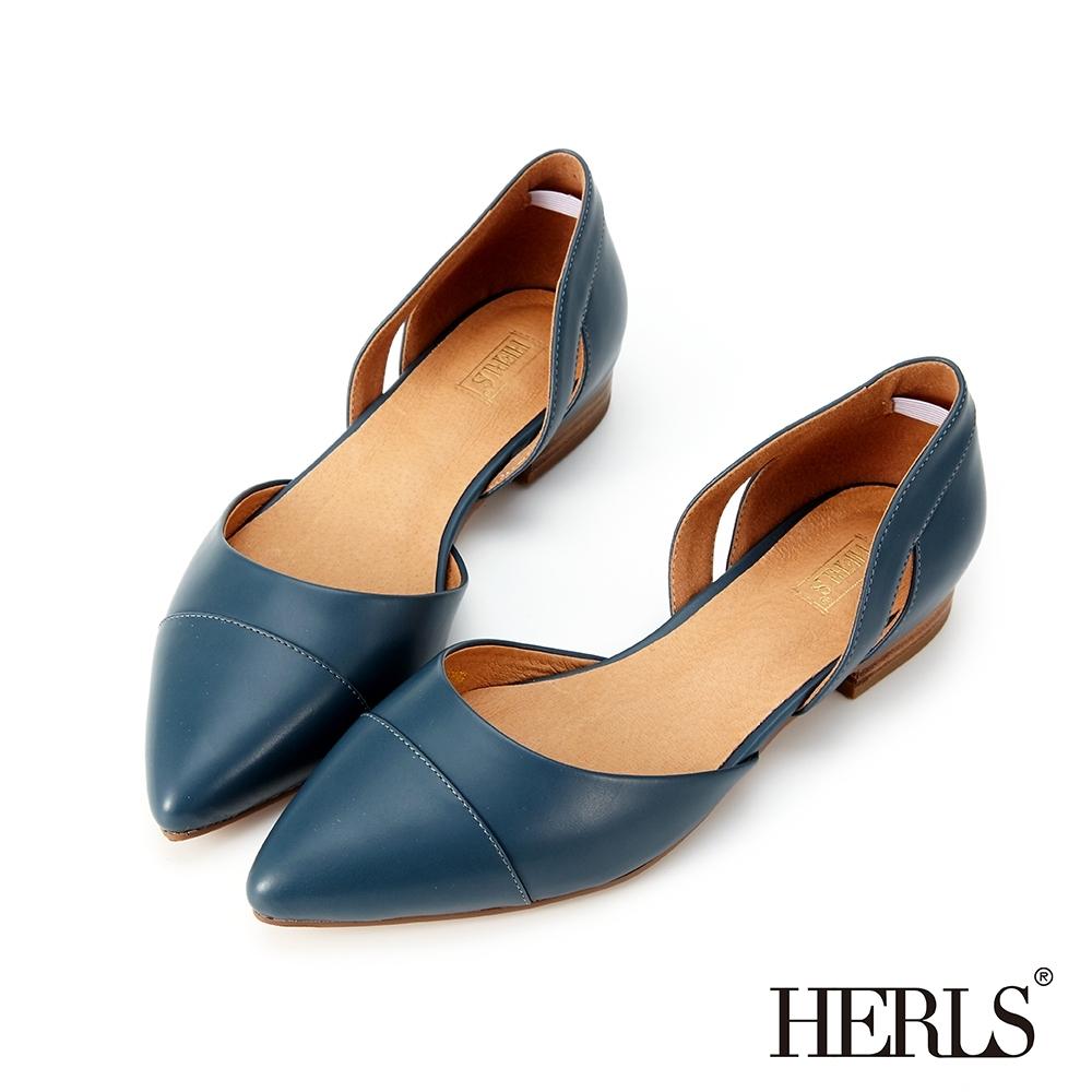 HERLS 輕恬優雅 內真皮鏤空造型尖頭平底鞋-藍色