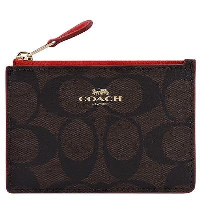 COACH 紅色馬車大C PVC鑰匙零錢包