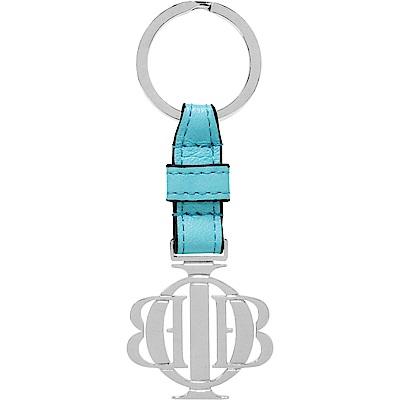 OBBI LAI 義大利小羊皮白鋼色不鏽鋼鑰匙圈吊飾 OLKR001C