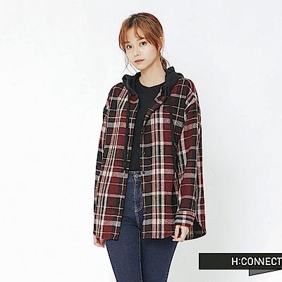 H:CONNECT 韓國品牌 女裝-格紋連帽毛呢襯衫-紅