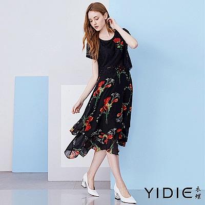 【YIDIE衣蝶】睫毛蕾絲拼接花朵雪紡長洋裝