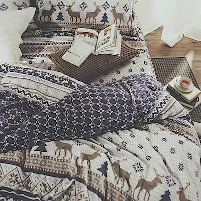 絲薇諾 雪花小鹿 加大四件式-法蘭絨 鋪棉加厚床包被套組
