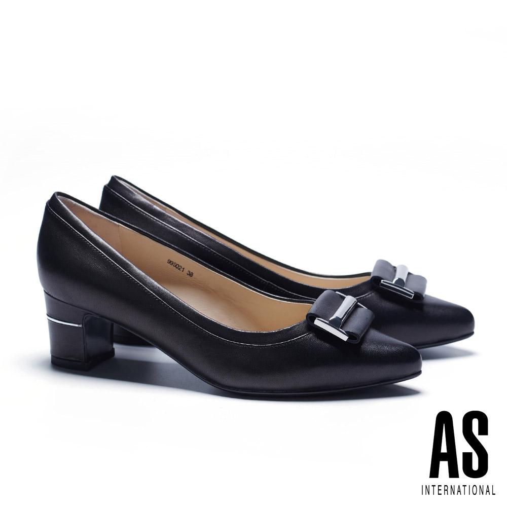 高跟鞋 AS 時尚金屬皮帶釦飾羊皮尖頭高跟鞋-黑