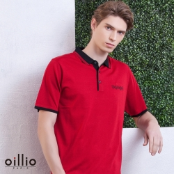oillio歐洲貴族 短袖POLO領紳士線衫 頂級柔順天絲棉 超柔防皺款式 紅色