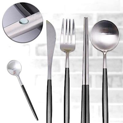 EZlife歐式精緻304不鏽鋼餐具5件套(2套裝)再贈純棉精緻桌布