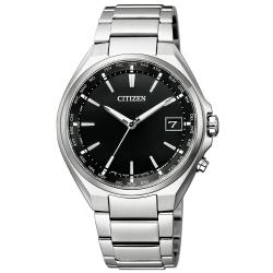 CITIZEN 星辰GENTS 鈦金屬光動能電波腕錶-銀黑38mm(CB1120-50E)