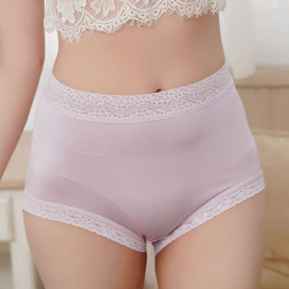 內褲 粉嫩色調100%蠶絲高腰三角內褲 (紫) Chlansilk 闕蘭絹
