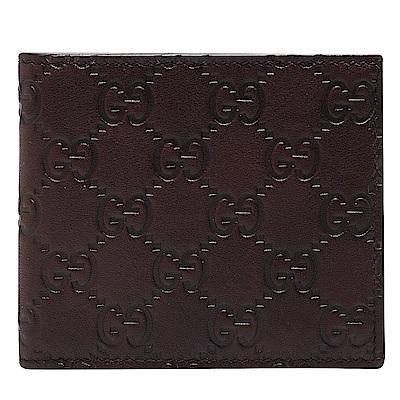 GUCCI 經典Guccissima GG壓紋小牛皮折疊短夾(咖啡色-8卡)