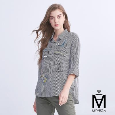 【麥雪爾】MA童趣線條塗鴉條紋襯衫