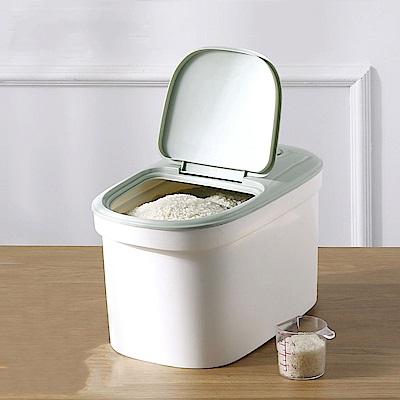PUSH! 儲米箱麵粉桶寵物飼料桶10KG(白綠)I75