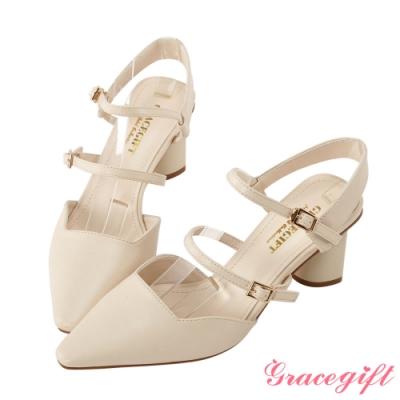 Grace gift-雙帶尖頭方口造型跟鞋 杏